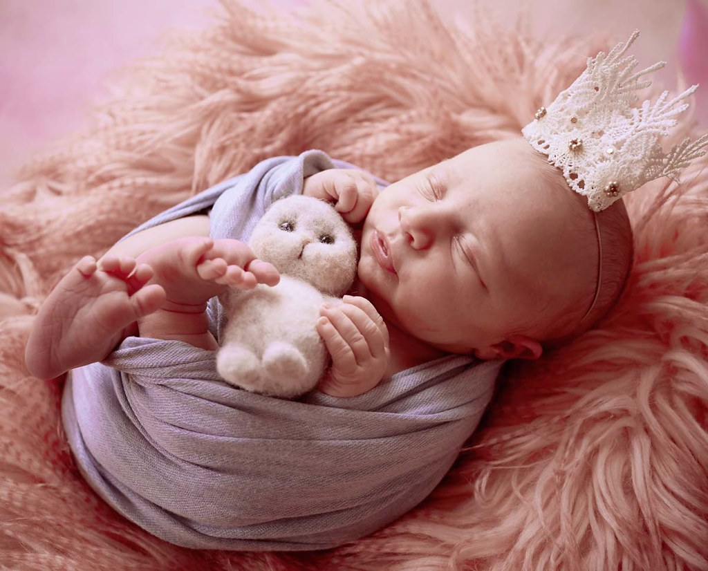 A newborn baby wearing a royal crown is holding a soft toy whilst wrapped in a blanket.