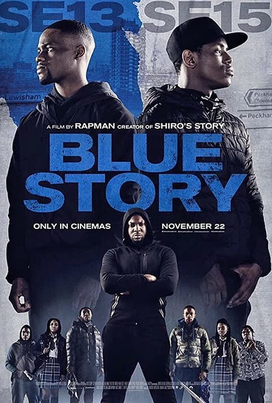 Film poster for Blue Story with two boys standing back to back against a blue and white background.