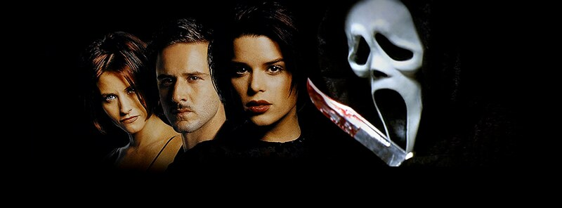 A scream mask, Neve Campbell, Courtney Cox and David Arquette in the Scream movie promotional poster.
