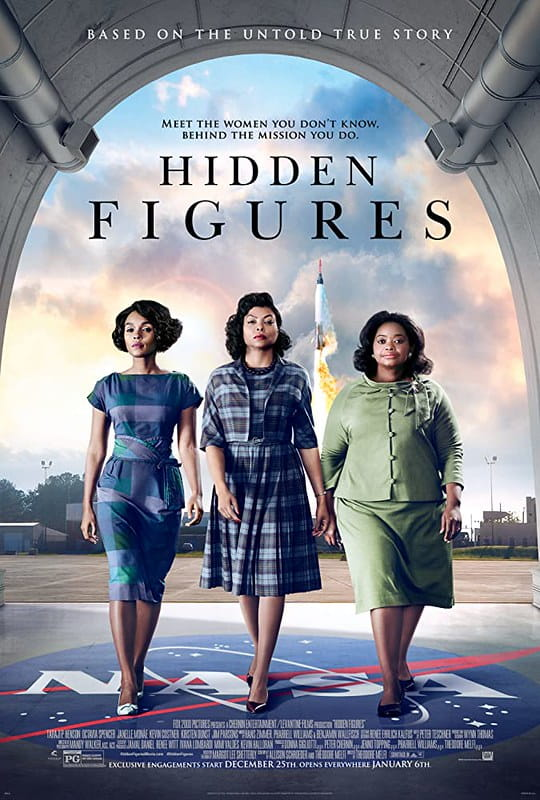 Film poster for Hidden Figures with the three female mathematicians walking towards the camera.