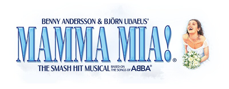 Logo for Mamma Mia! the musical with the title written in blue and a smiling girl in a wedding dress.