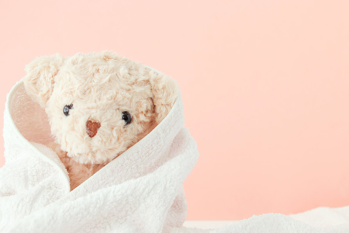 Cream teddy bear wrapped in a white towel drying after being washed.