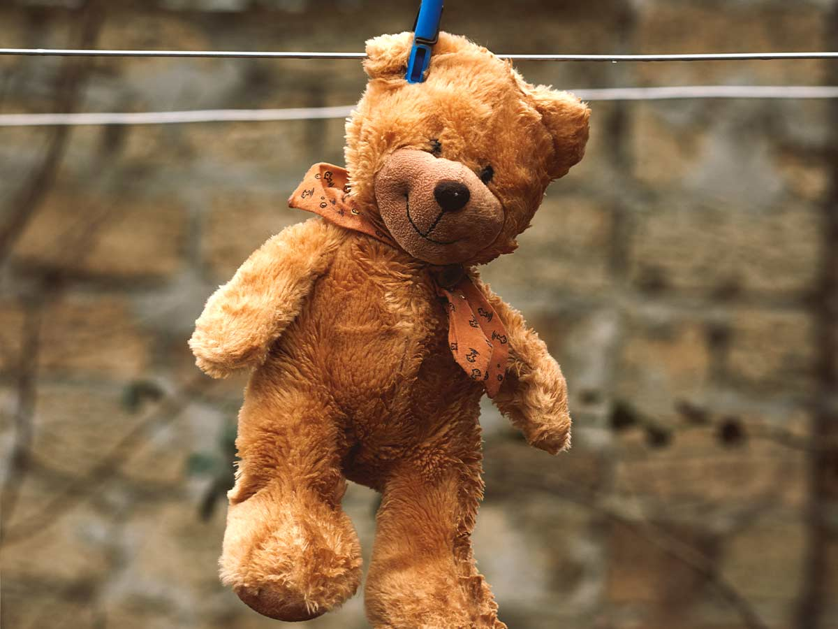 Brown teddy bear hanging on a washing line to dry.
