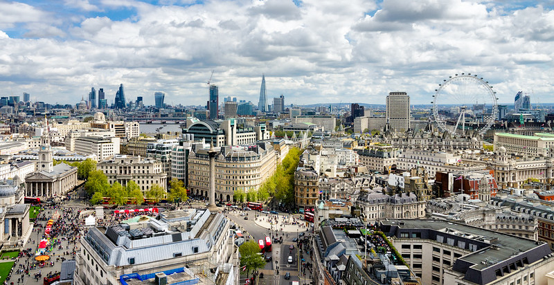 Aerial view of central London.