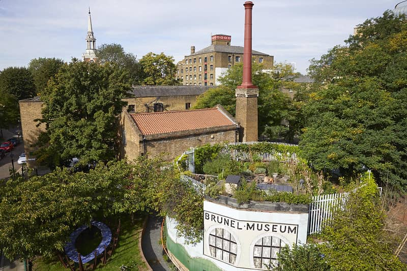 Aerial view of Brunel Museum Rotherhithe.