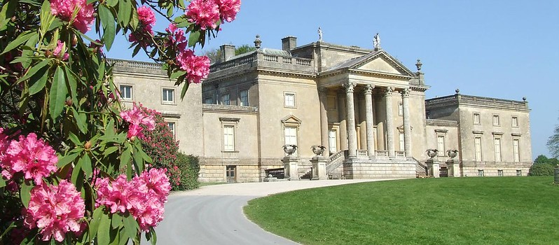 The Stourhead Palladian Manor House, with the blue sky overhead.