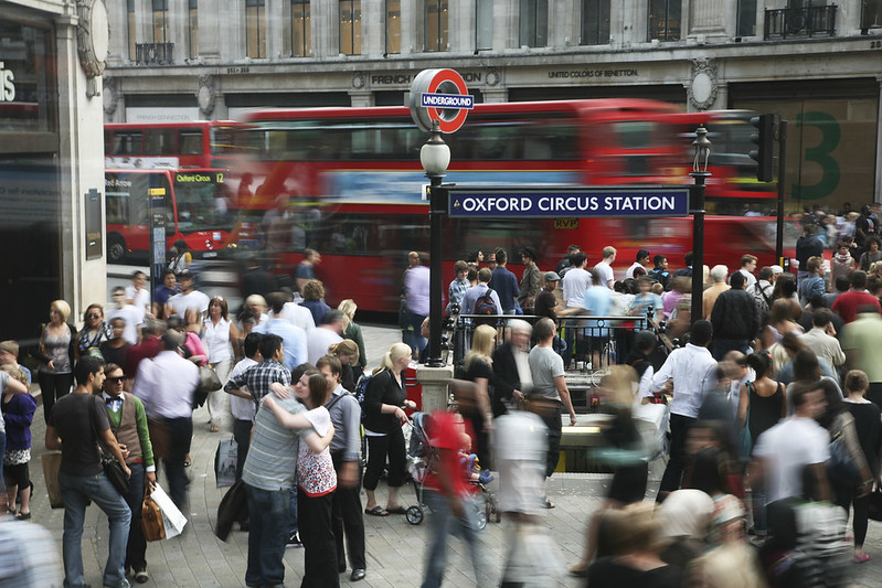 Crowds in Oxford Circus.