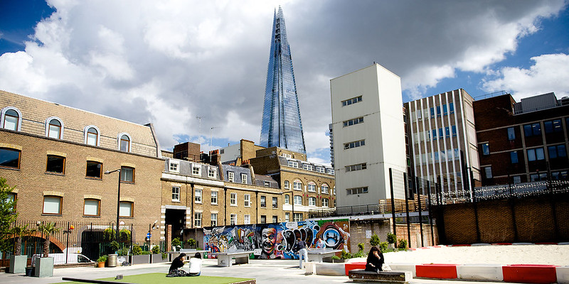 Park with views of The Shard in Southwark.