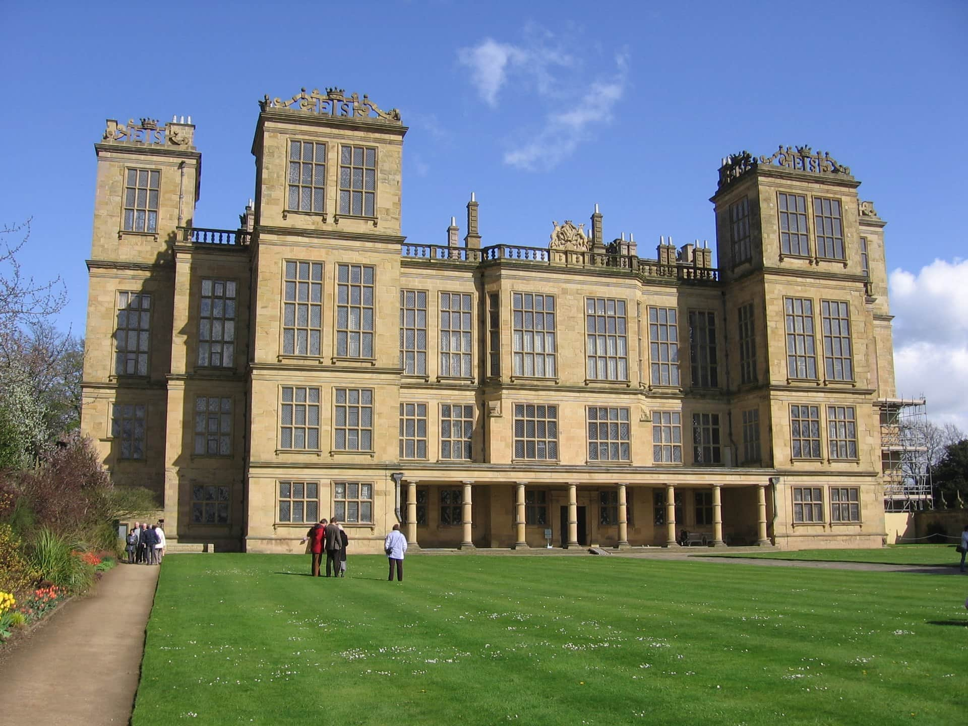 The exterior of Hardwick Hall on a sunny day.
