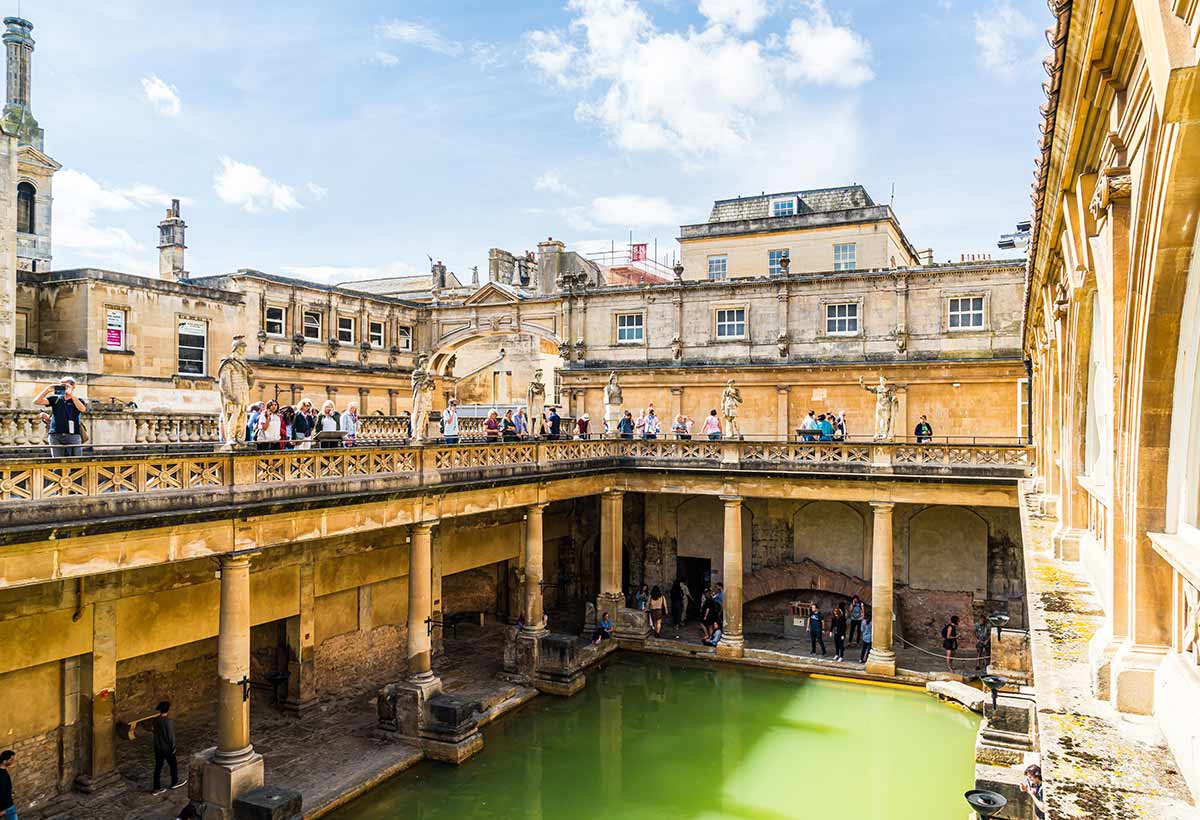 Roman baths in Bath, Somerset, England.