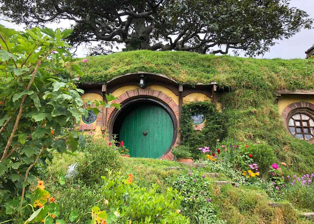 Front door of Bilbo Baggins' house in the Shire, in 'The Hobbit' movie.