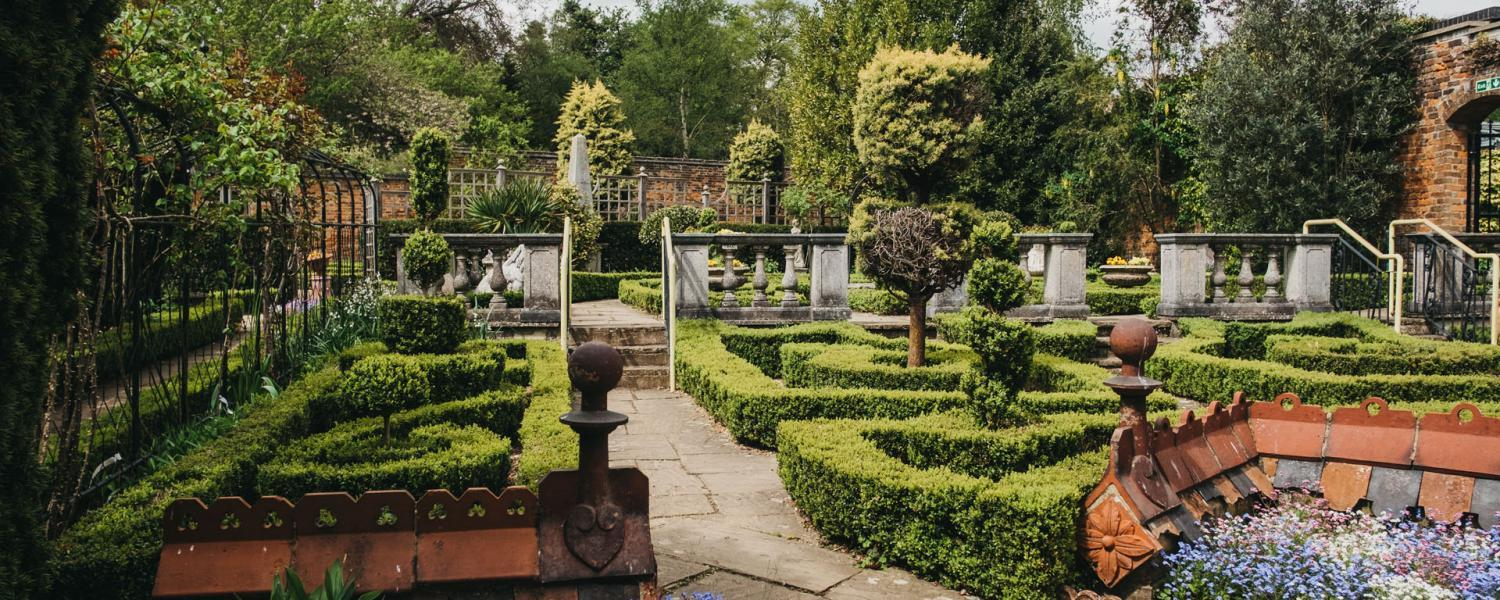 The walled gardens of the Stockwood Discovery Centre.