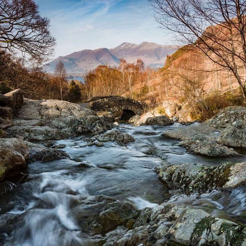 A stream between mountains in the Lake District.