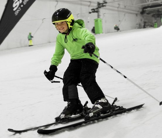 Child skiing at Snozone.