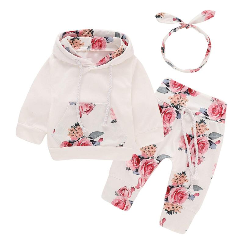 Puseky Newborn Baby Girl Long Sleeve Floral Top & Bottoms.