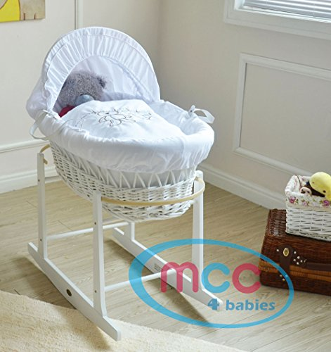 MCC Full-Set White Wicker Moses Basket.