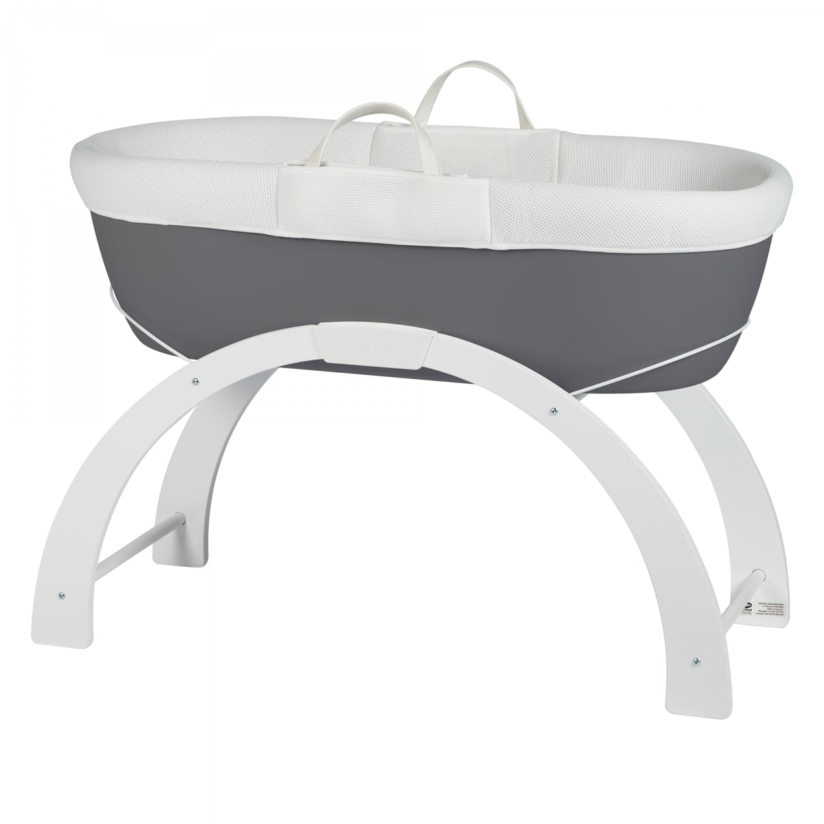 Shnuggle Dreami Moses Basket with rocking stand.