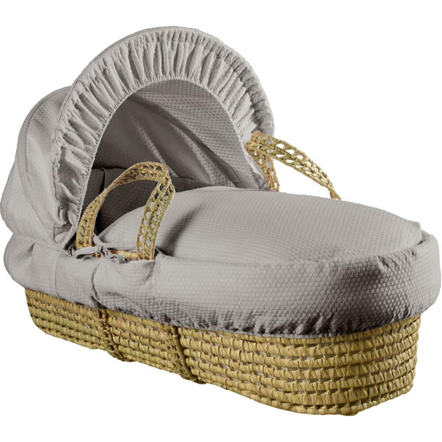 Clair de Lune Cotton Dream Palm Moses Basket in grey.