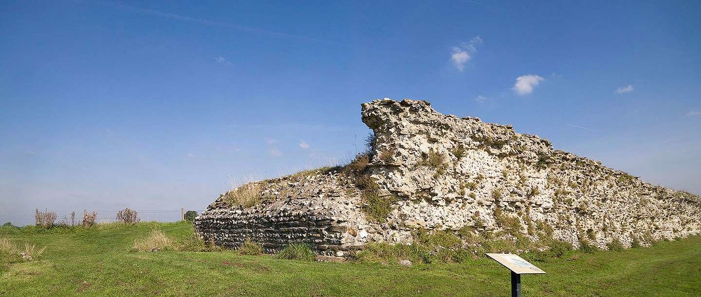 Ruins of Silchester Roman City Walls and Amphitheatre.
