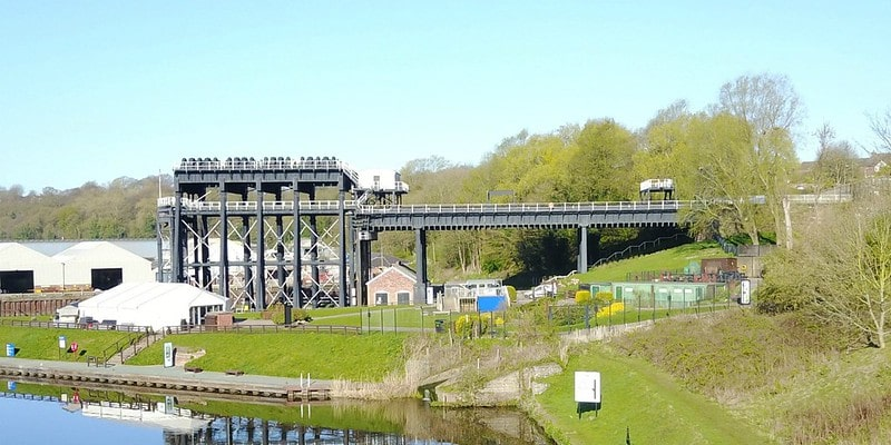 View of the iron Anderton Boat Lift sitting on the River Weaver.