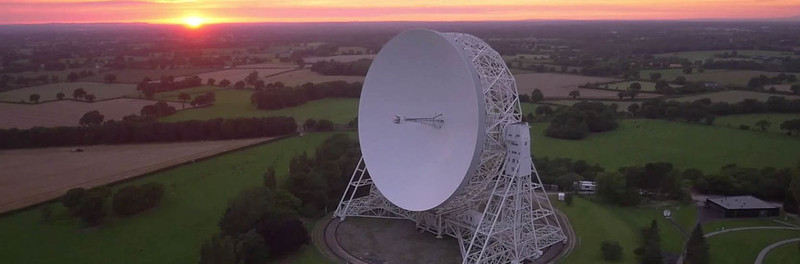 The huge Lovell Telescope at the Jodrell Bank Visitor Centre and Arboretum.