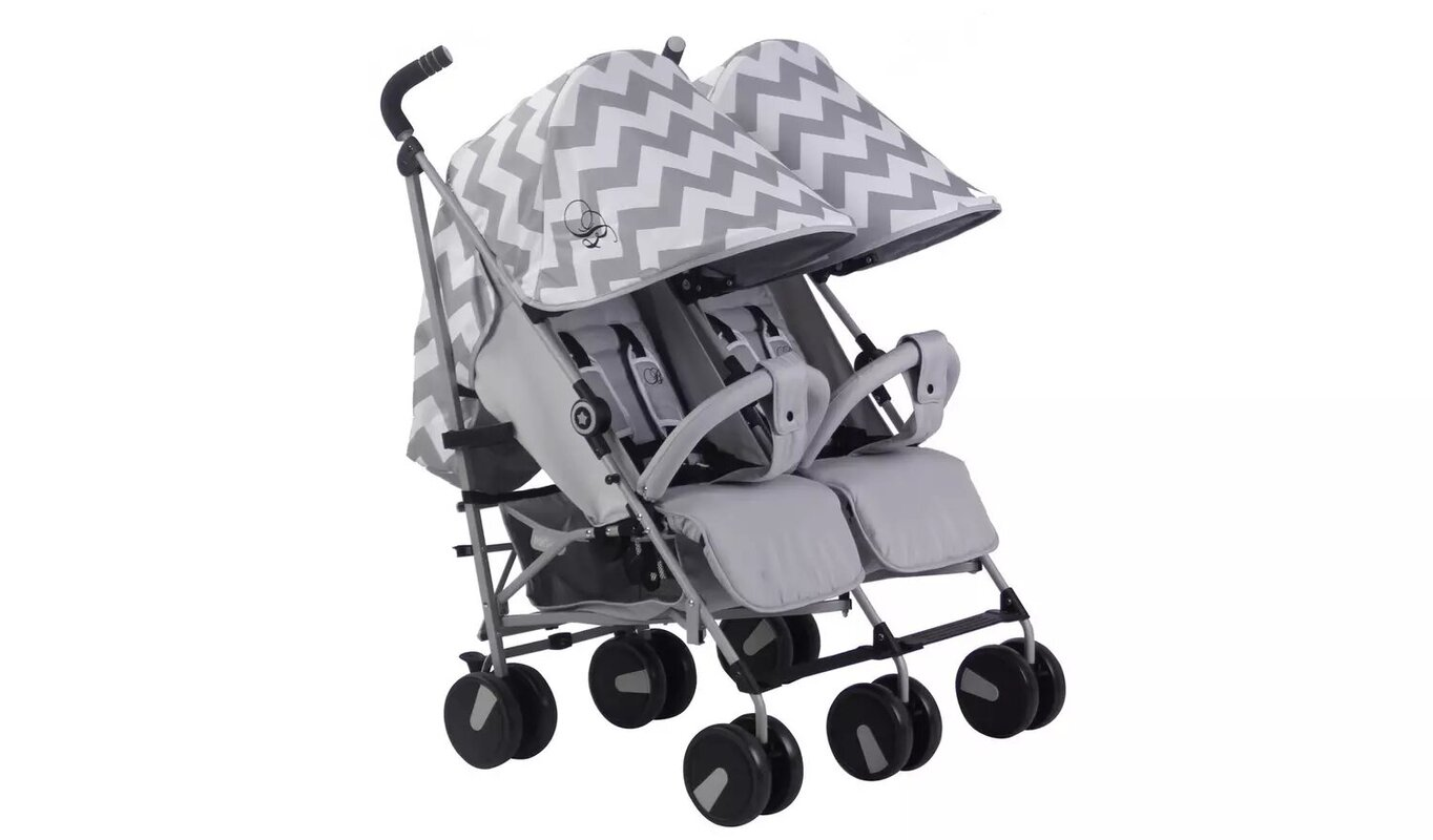 My Babiie Billie Faiers MB22 Chevron Double Pushchair.