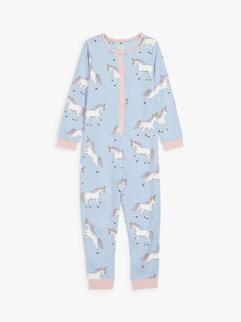 Girls' Unicorn Print Onesie, Light Blue - John Lewis.