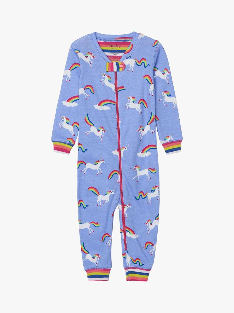 Hatley Baby Organic Cotton Unicorn Stripe Sleepsuit, Purple - John Lewis.