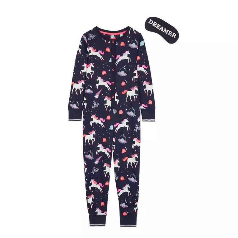 Bluezoo Girls' Navy Unicorn Onesie And Sleep Mask - Debenhams.