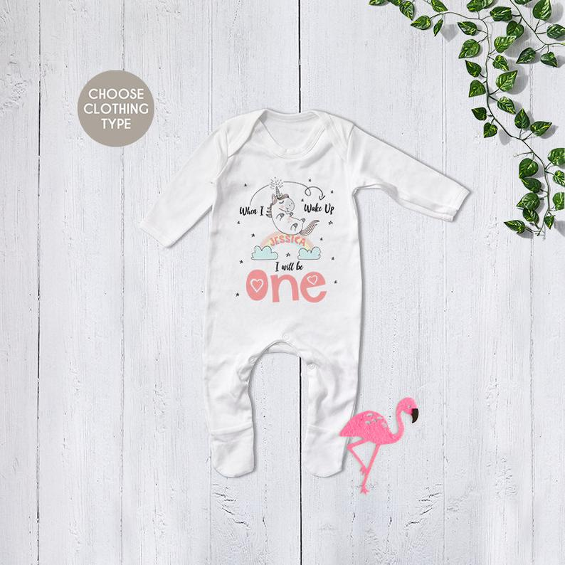 Personalised Unicorn Birthday Eve Babygrow - Etsy