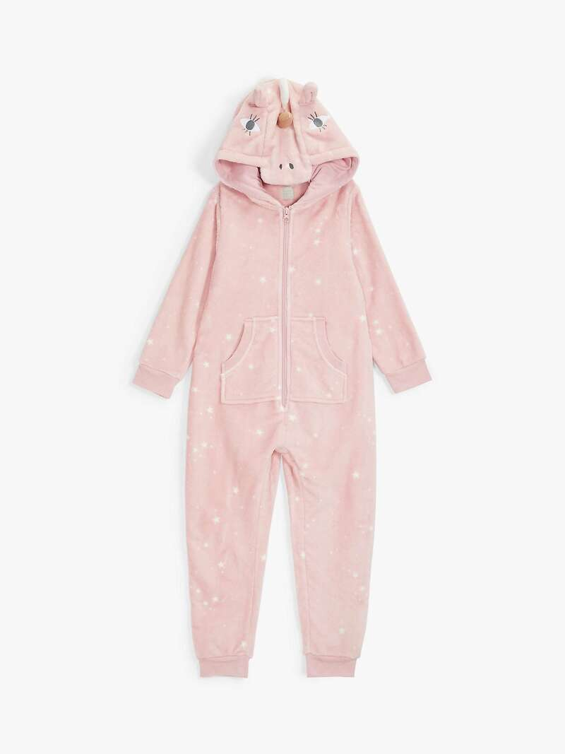 Girls' Unicorn Onesie, Pink - John Lewis.