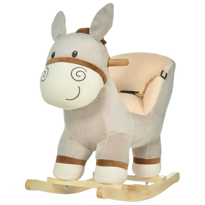 HOMCOM Toddler's Donkey Plush Rocking Ride On With Sound