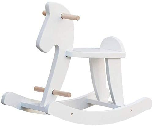Labebe Baby Wooden White Rocking Horse.