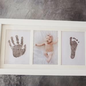Bubzi Co Beautiful Baby Handprint Kit & Footprint Photo Frame.
