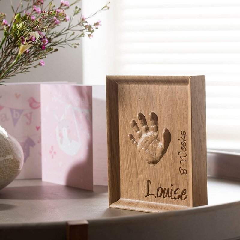 The Lovely Keepsake Company Solid Oak Handprint Carving.