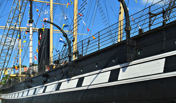 Brunel's SS Great Britain, side-on view.