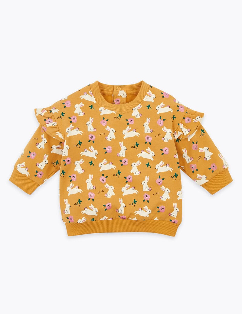 M&S Cotton Rich Frill Shoulder Sweatshirt.