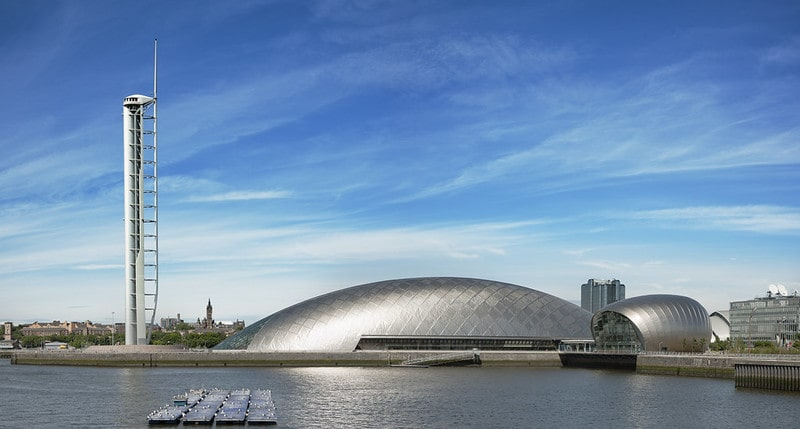 Titanium dome of Glasgow Science Centre, a great space museum for kids.