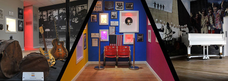 Collage image of three exhibition rooms at the Liverpool Beatles Museum.