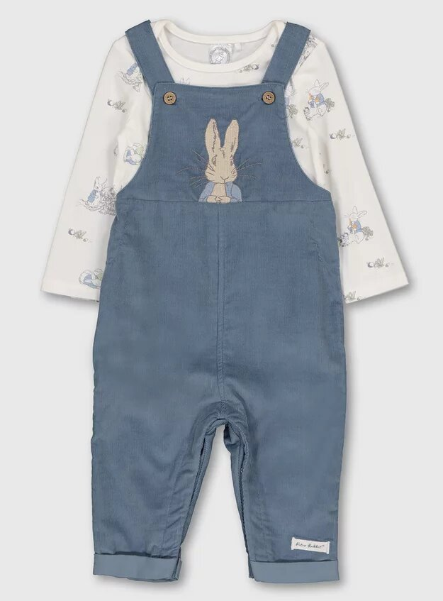 Tu Clothing Peter Rabbit Blue Dungarees & Bodysuit.