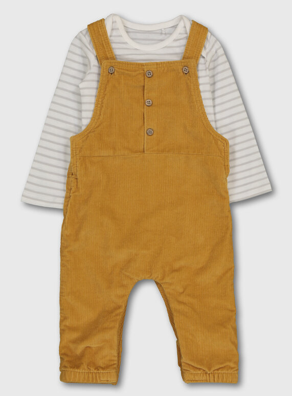 Tu Clothing Mustard Corduroy Dungaree & Bodysuit.
