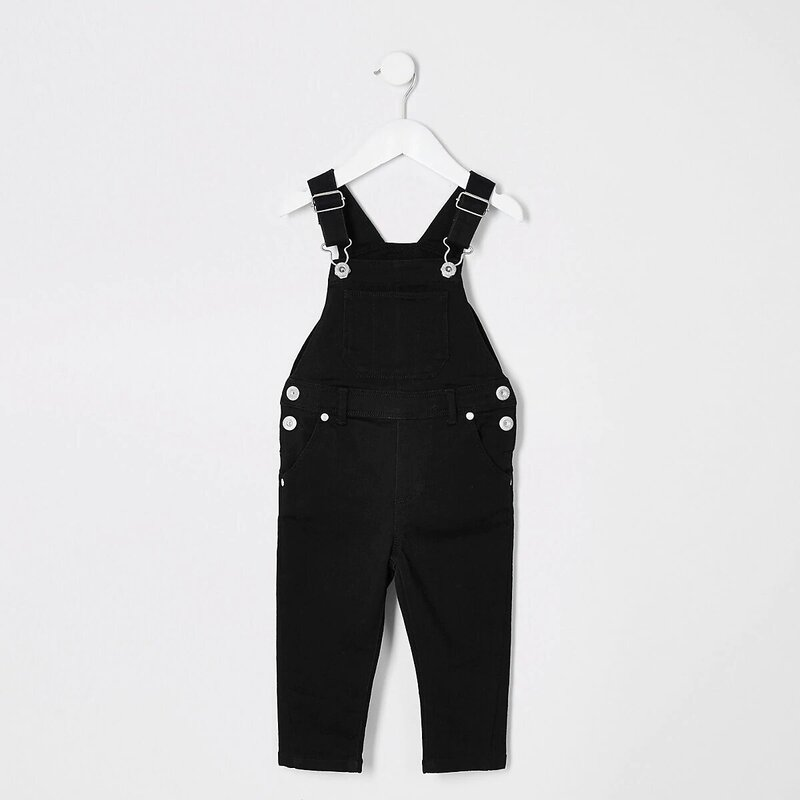 River Island Mini Kids' Black Denim Dungarees.