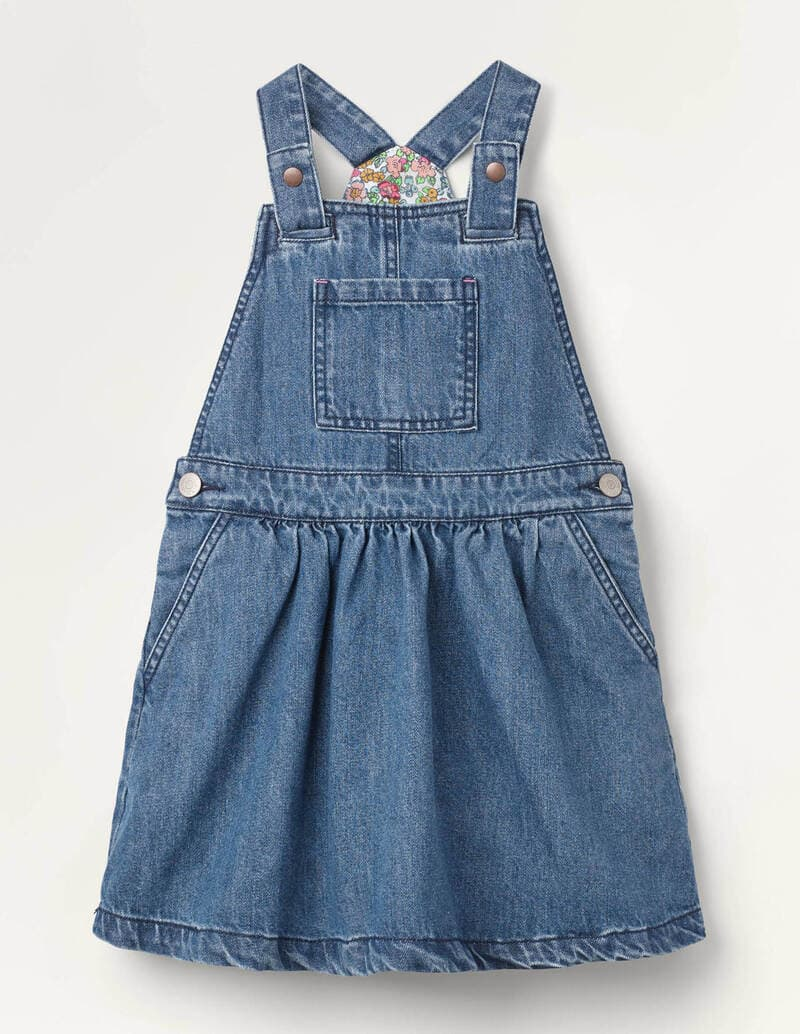 Boden Woven Dungaree Dress In Chambray.