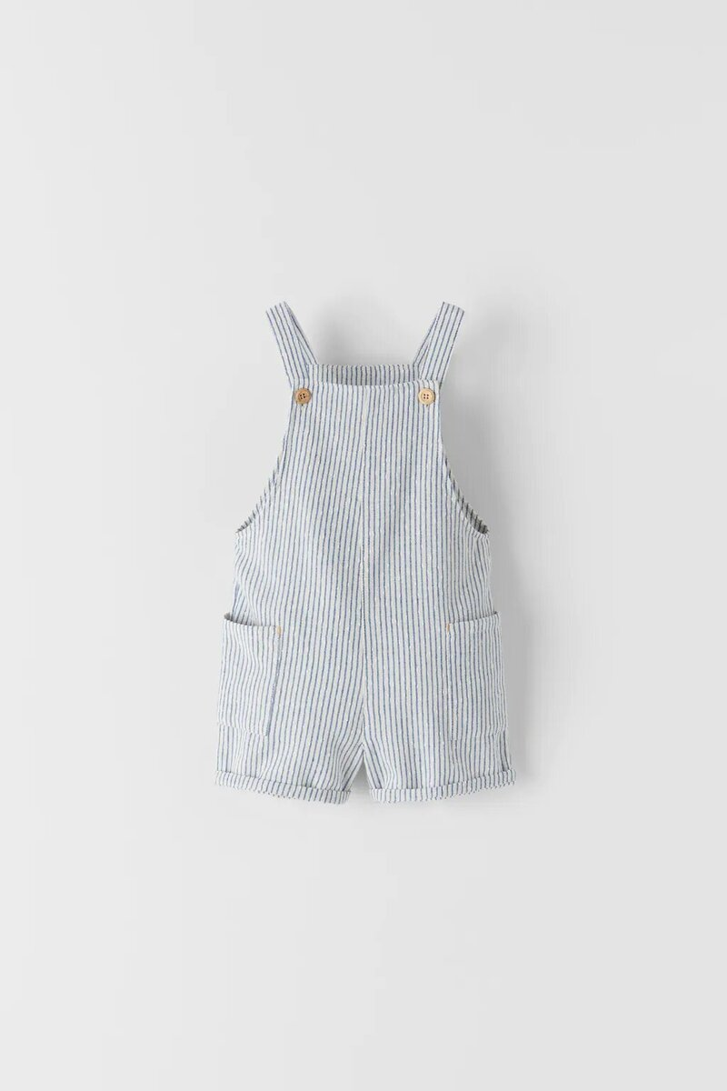 Zara Striped Short Dungarees.