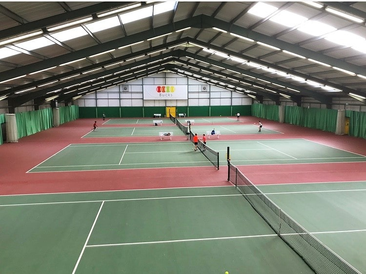 Expansive tennis courts at Bucks Indoor Tennis Centre.