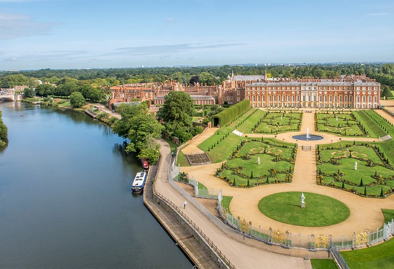 Aerial view of Hampton Court Palace in Richmond Upon Thames.