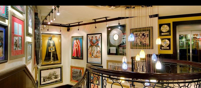 Music memorabilia, including records, clothing and pictures, hanging at the Hard Rock Cafe in London.