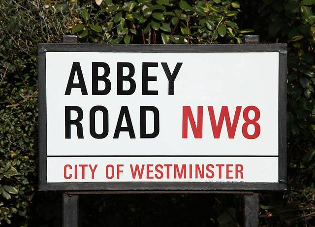 The road sign for Abbey Road NW8 in London.