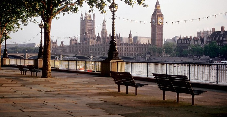 Benches overlooking Thames on South Bank.