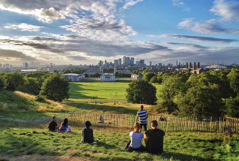 View of London skyline from Greenwich Park.